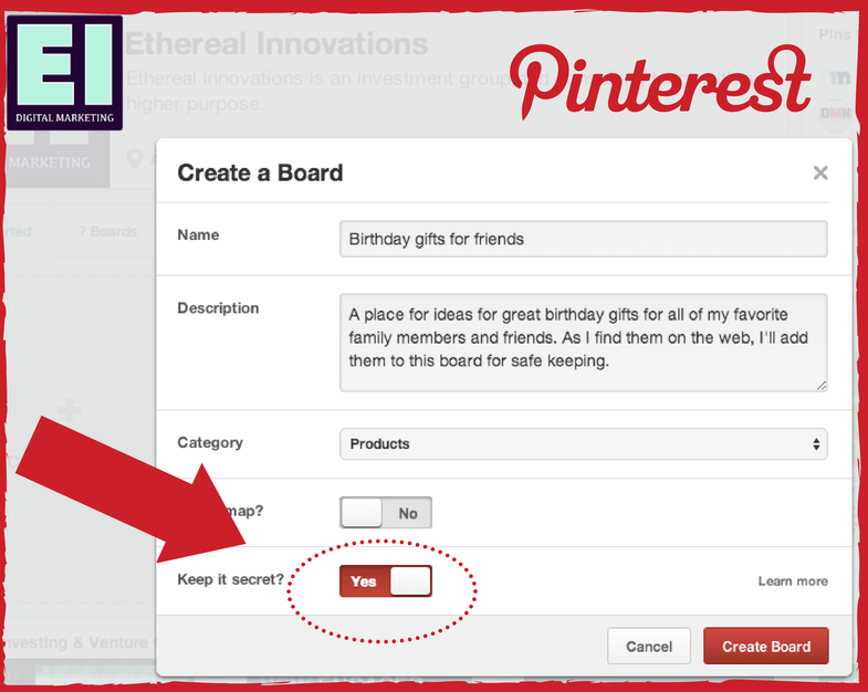 Pinterest Launches Unlimited Secret Boards Ethereal
